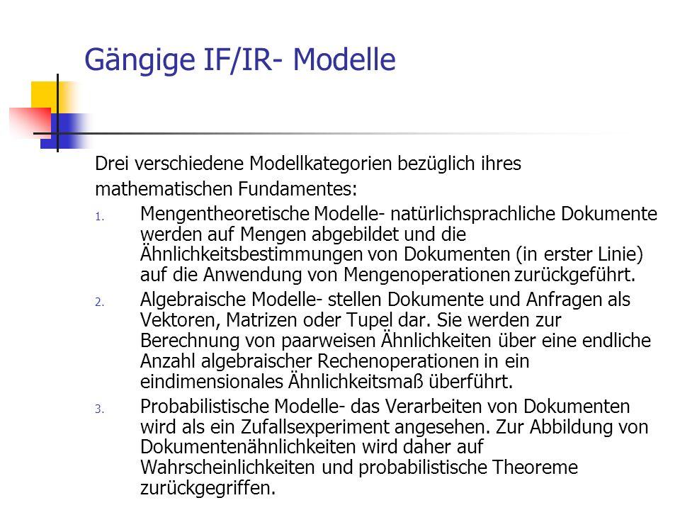 Gängige IF/IR- Modelle Drei verschiedene Modellkategorien bezüglich ihres mathematischen Fundamentes: 1. Mengentheoretische Modelle- natürlichsprachli