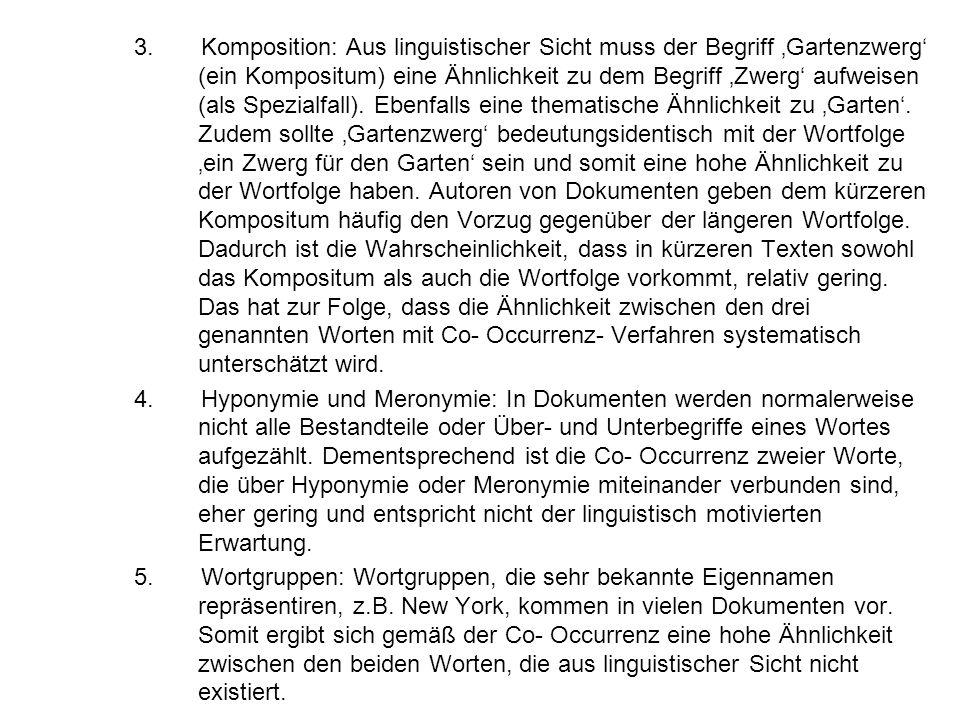 3. Komposition: Aus linguistischer Sicht muss der Begriff Gartenzwerg (ein Kompositum) eine Ähnlichkeit zu dem Begriff Zwerg aufweisen (als Spezialfal