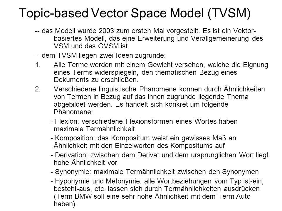 Topic-based Vector Space Model (TVSM) -- das Modell wurde 2003 zum ersten Mal vorgestellt. Es ist ein Vektor- basiertes Modell, das eine Erweiterung u