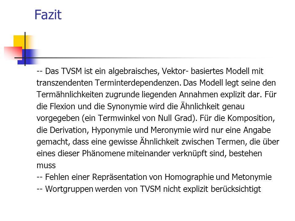 Fazit -- Das TVSM ist ein algebraisches, Vektor- basiertes Modell mit transzendenten Terminterdependenzen. Das Modell legt seine den Termähnlichkeiten