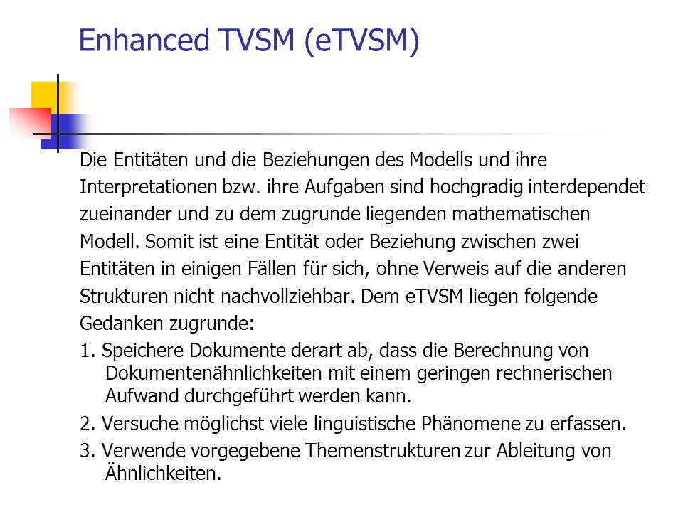 Enhanced TVSM (eTVSM) Die Entitäten und die Beziehungen des Modells und ihre Interpretationen bzw. ihre Aufgaben sind hochgradig interdependet zueinan