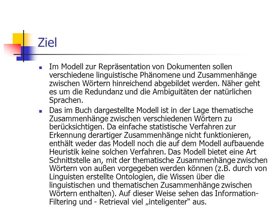 Ziel Im Modell zur Repräsentation von Dokumenten sollen verschiedene linguistische Phänomene und Zusammenhänge zwischen Wörtern hinreichend abgebildet