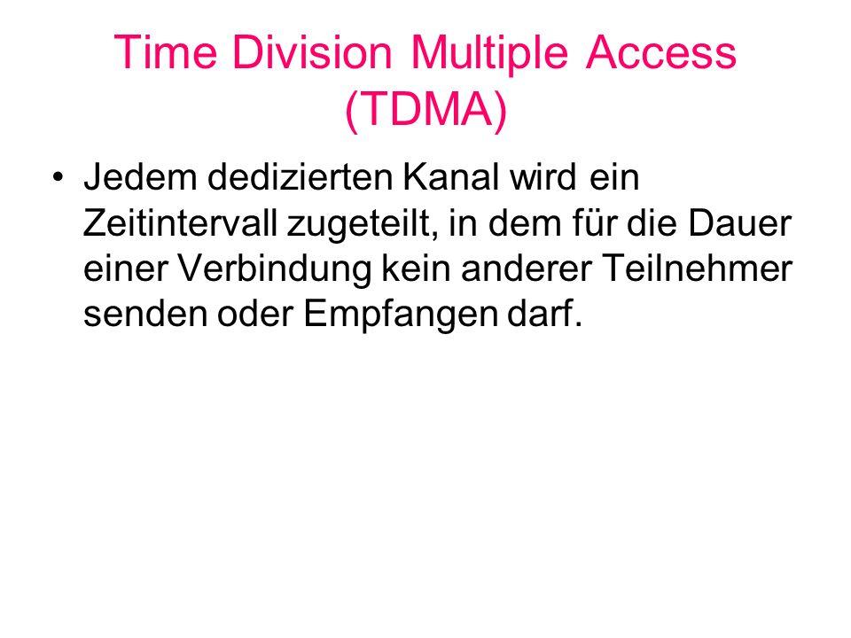 Time Division Multiple Access (TDMA) Jedem dedizierten Kanal wird ein Zeitintervall zugeteilt, in dem für die Dauer einer Verbindung kein anderer Teil