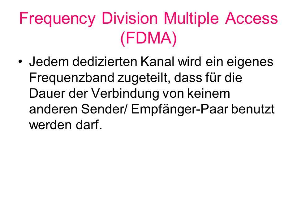 Frequency Division Multiple Access (FDMA) Jedem dedizierten Kanal wird ein eigenes Frequenzband zugeteilt, dass für die Dauer der Verbindung von keine