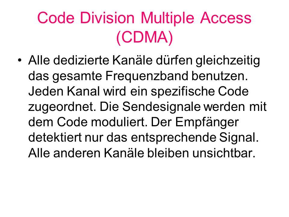 Code Division Multiple Access (CDMA) Alle dedizierte Kanäle dürfen gleichzeitig das gesamte Frequenzband benutzen. Jeden Kanal wird ein spezifische Co