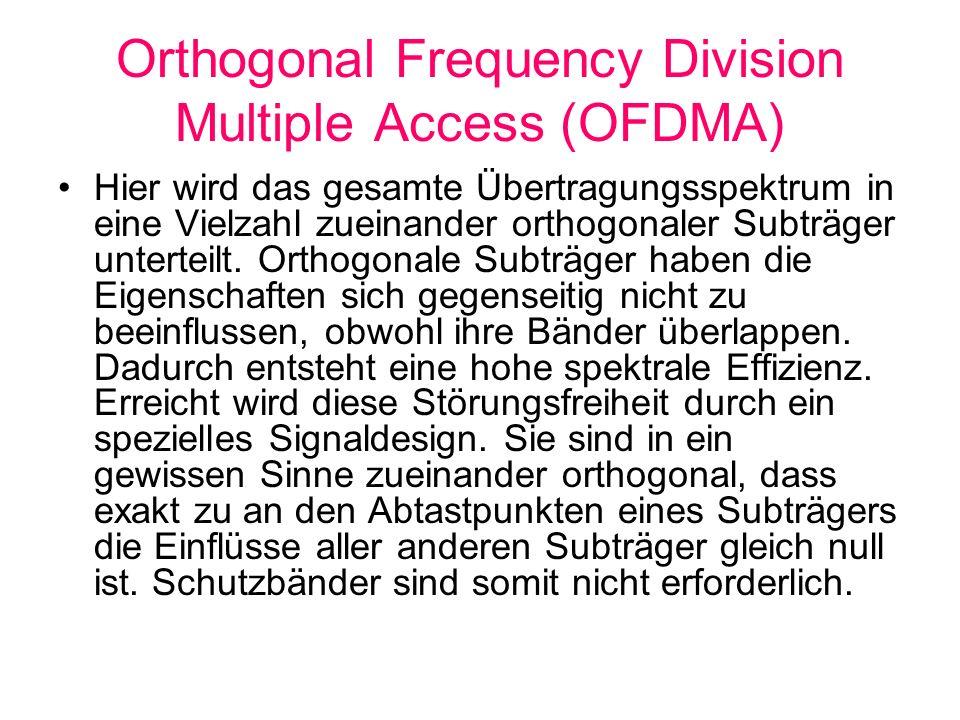 Orthogonal Frequency Division Multiple Access (OFDMA) Hier wird das gesamte Übertragungsspektrum in eine Vielzahl zueinander orthogonaler Subträger un
