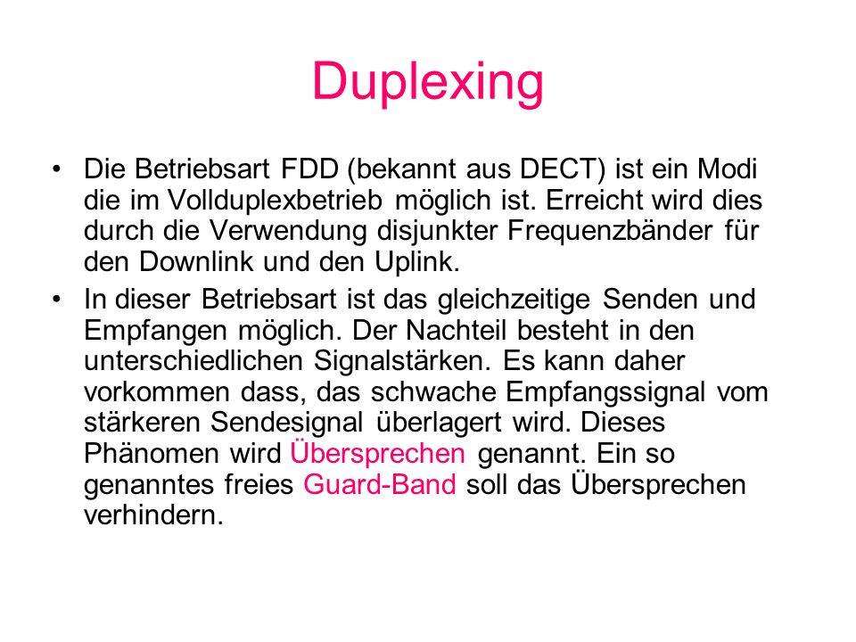 Duplexing Die Betriebsart FDD (bekannt aus DECT) ist ein Modi die im Vollduplexbetrieb möglich ist. Erreicht wird dies durch die Verwendung disjunkter