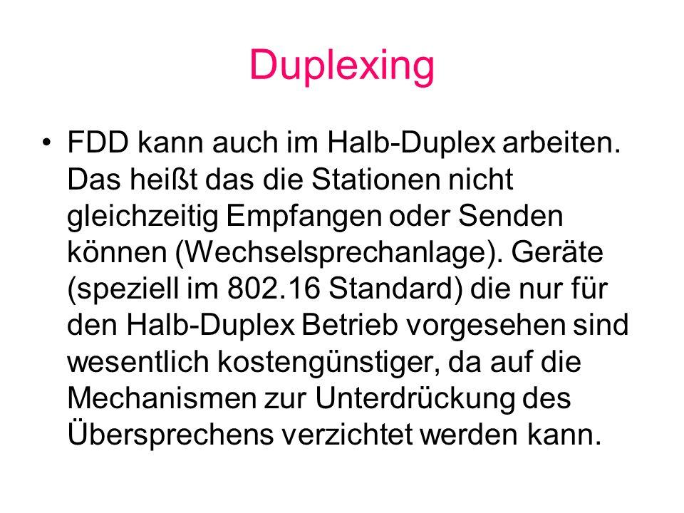 Duplexing FDD kann auch im Halb-Duplex arbeiten. Das heißt das die Stationen nicht gleichzeitig Empfangen oder Senden können (Wechselsprechanlage). Ge
