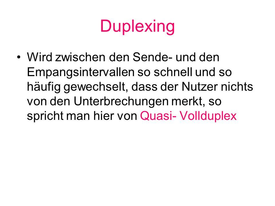 Duplexing Wird zwischen den Sende- und den Empangsintervallen so schnell und so häufig gewechselt, dass der Nutzer nichts von den Unterbrechungen merk