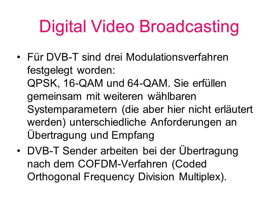 Digital Video Broadcasting Für DVB-T sind drei Modulationsverfahren festgelegt worden: QPSK, 16-QAM und 64-QAM. Sie erfüllen gemeinsam mit weiteren wä