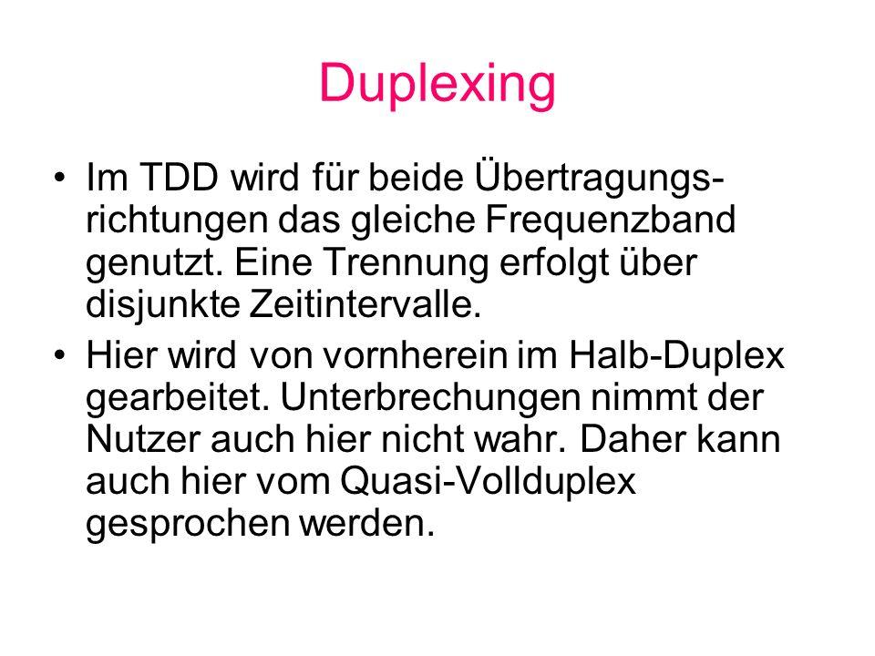 Im TDD wird für beide Übertragungs- richtungen das gleiche Frequenzband genutzt. Eine Trennung erfolgt über disjunkte Zeitintervalle. Hier wird von vo