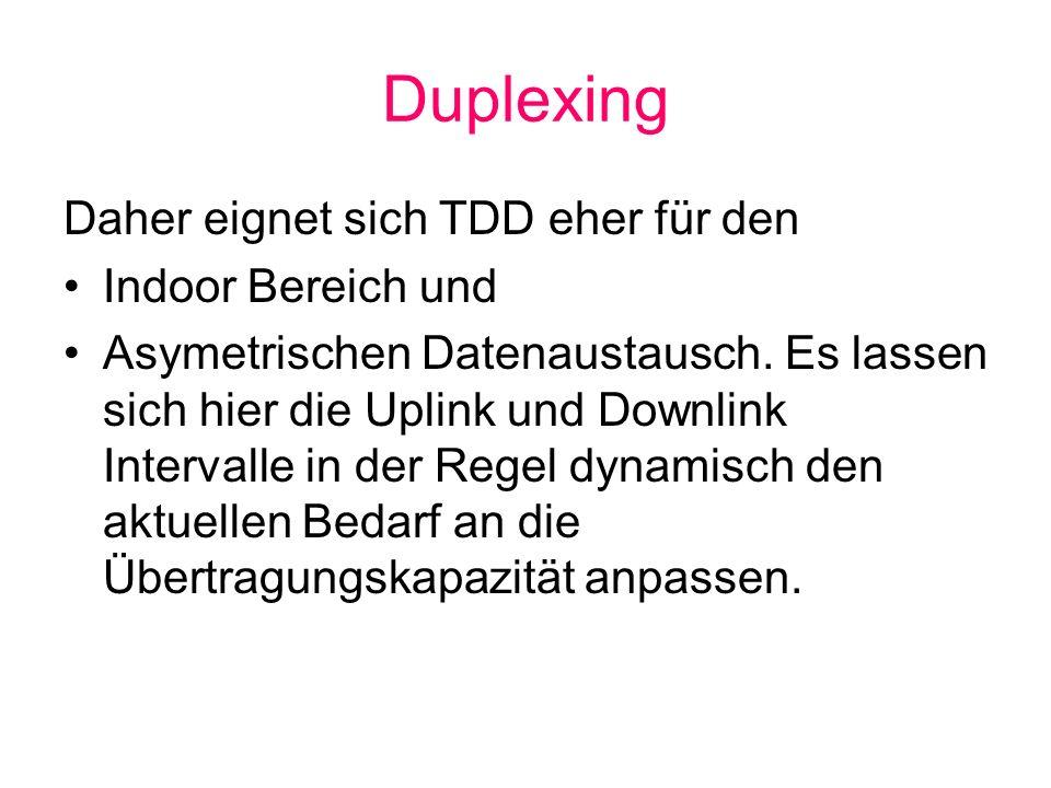 Duplexing Daher eignet sich TDD eher für den Indoor Bereich und Asymetrischen Datenaustausch. Es lassen sich hier die Uplink und Downlink Intervalle i