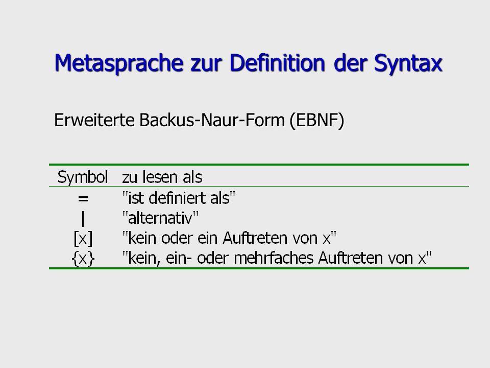 Metasprache zur Definition der Syntax Erweiterte Backus-Naur-Form (EBNF)
