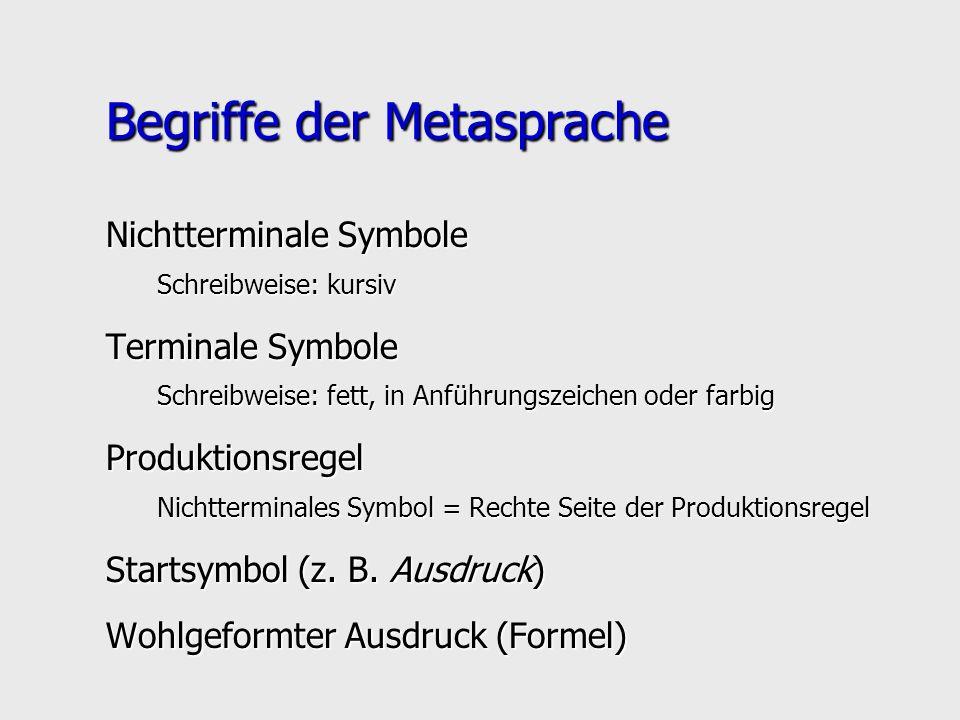 Begriffe der Metasprache Nichtterminale Symbole Schreibweise: kursiv Terminale Symbole Schreibweise: fett, in Anführungszeichen oder farbig Produktion