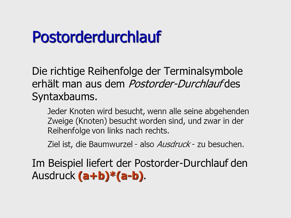 Postorderdurchlauf Die richtige Reihenfolge der Terminalsymbole erhält man aus dem Postorder-Durchlauf des Syntaxbaums. Jeder Knoten wird besucht, wen