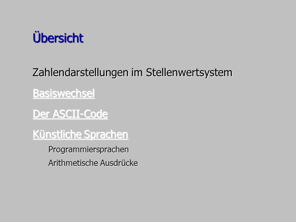 Übersicht Zahlendarstellungen im Stellenwertsystem Basiswechsel Der ASCII-Code Der ASCII-Code Künstliche Sprachen Künstliche SprachenProgrammiersprach