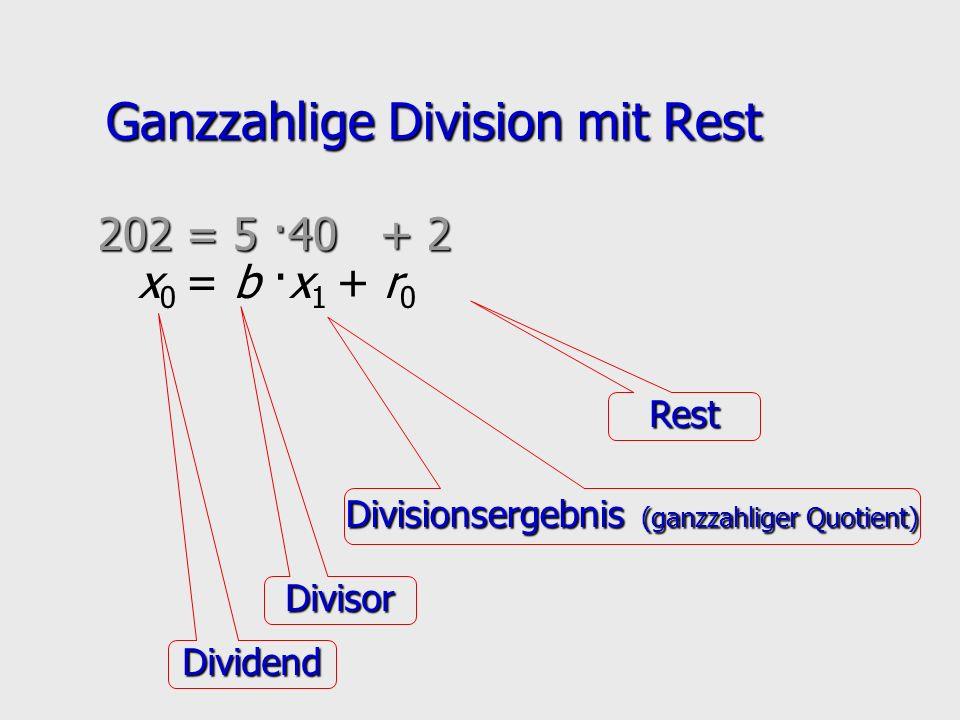 Ganzzahlige Division mit Rest x 0 = b ·x 1 + r 0 Dividend Divisor Divisionsergebnis (ganzzahliger Quotient) Rest 202 = 5 ·40 + 2