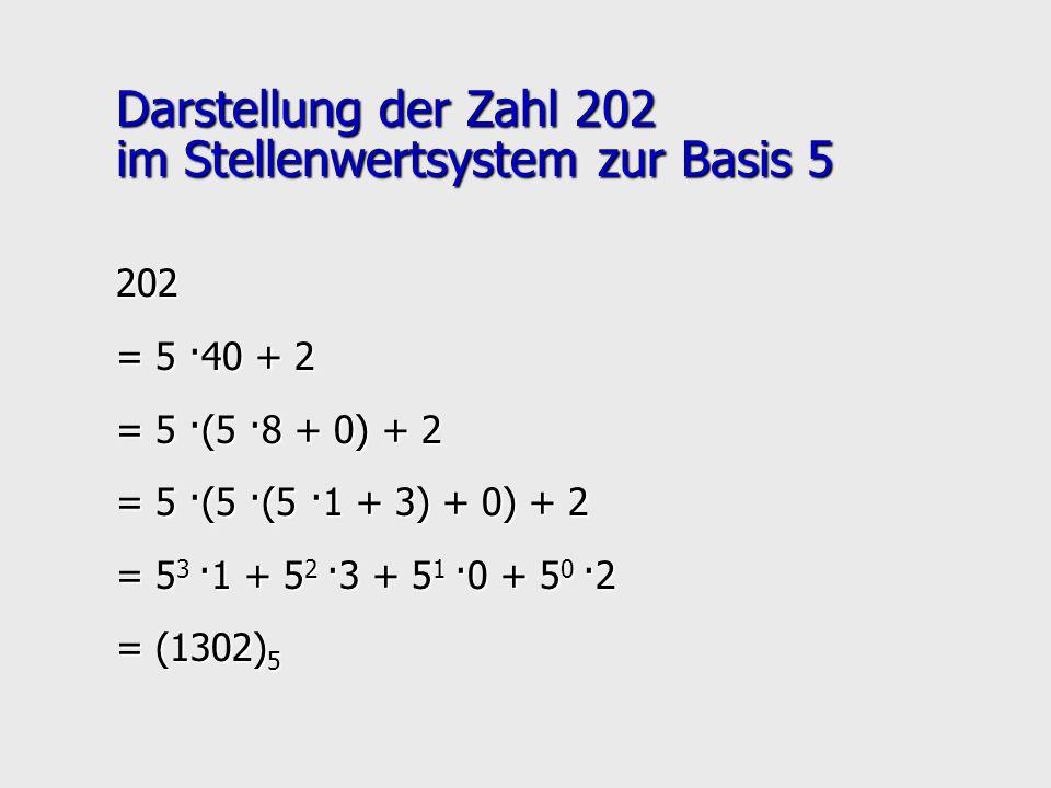 Darstellung der Zahl 202 im Stellenwertsystem zur Basis 5 202 = 5 ·40 + 2 = 5 ·(5 ·8 + 0) + 2 = 5 ·(5 ·(5 ·1 + 3) + 0) + 2 = 5 3 ·1 + 5 2 ·3 + 5 1 ·0