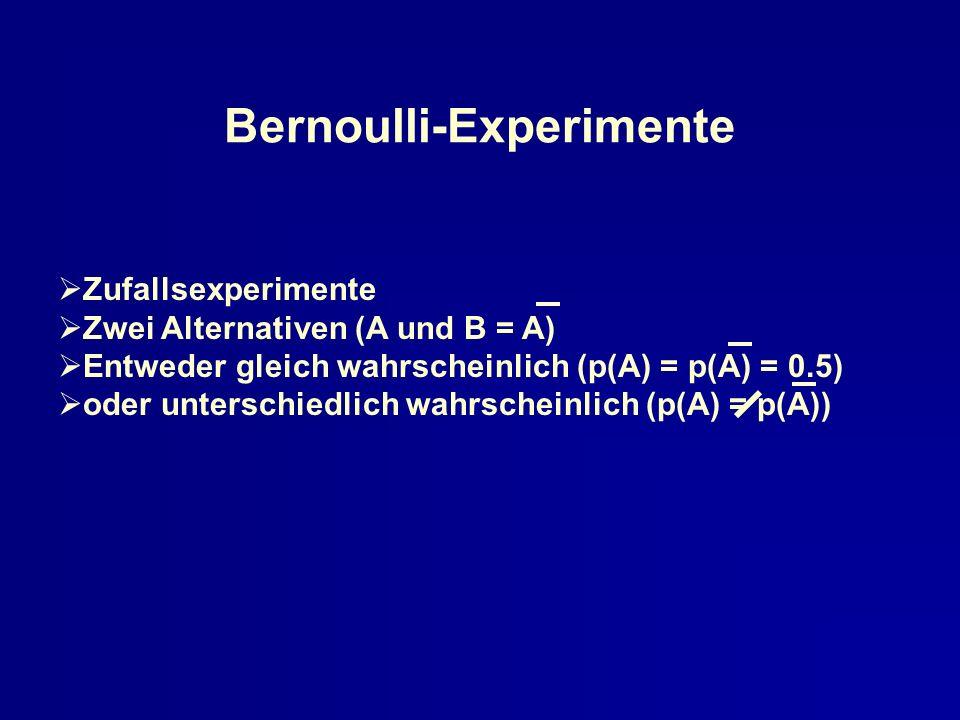 Bernoulli-Experimente Zufallsexperimente Zwei Alternativen (A und B = A) Entweder gleich wahrscheinlich (p(A) = p(A) = 0.5) oder unterschiedlich wahrs