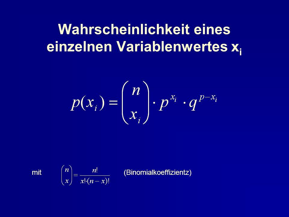 Wahrscheinlichkeit eines einzelnen Variablenwertes x i mit (Binomialkoeffizientz)