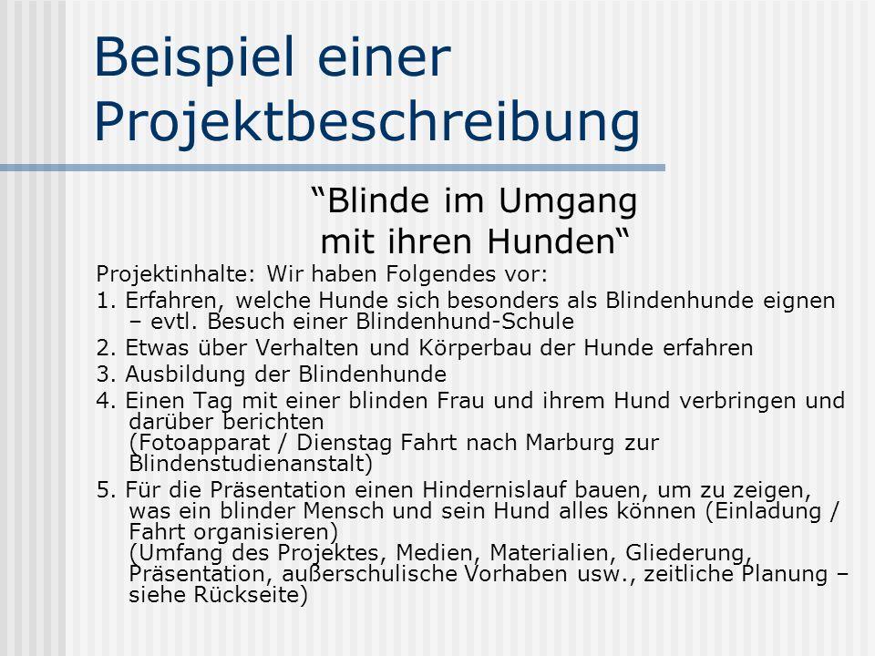 Beispiel einer Projektbeschreibung Blinde im Umgang mit ihren Hunden Projektinhalte: Wir haben Folgendes vor: 1. Erfahren, welche Hunde sich besonders
