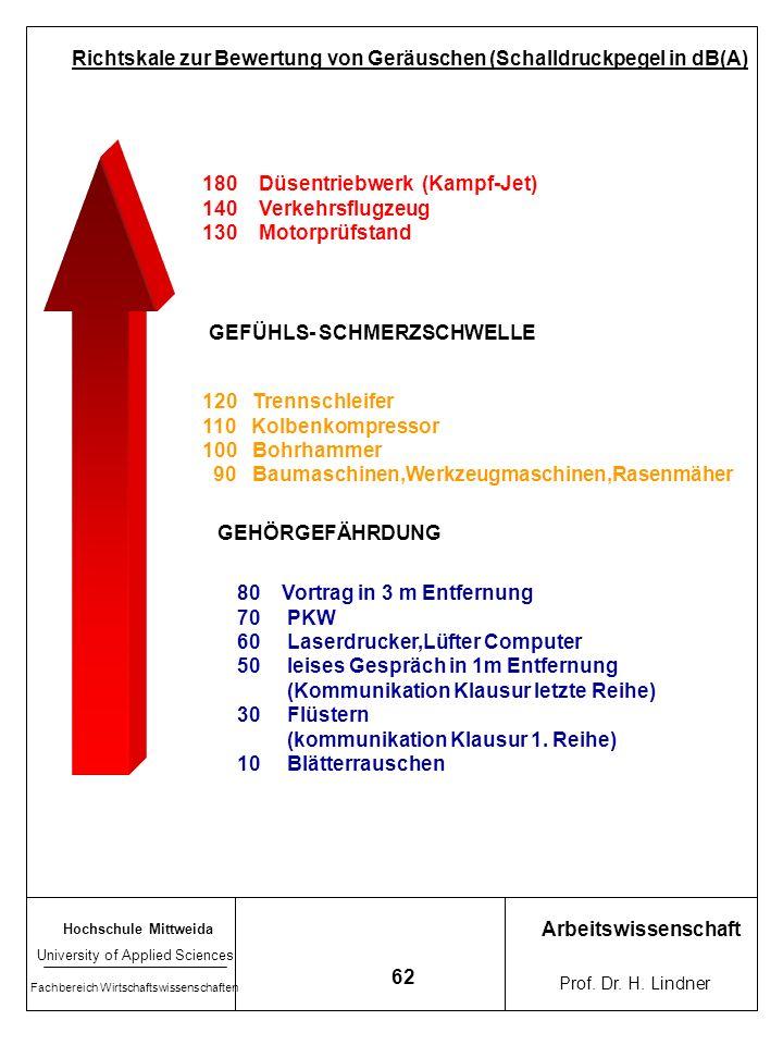 Hochschule Mittweida University of Applied Sciences Fachbereich Wirtschaftswissenschaften Arbeitswissenschaft Prof. Dr. H. Lindner 61 Berufskrankheite