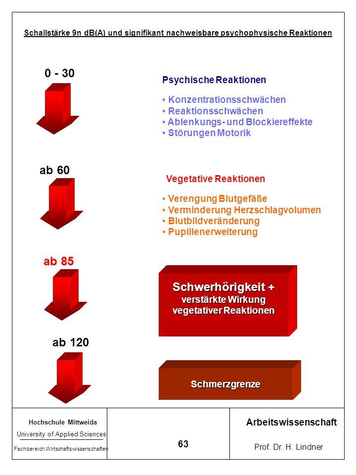 Hochschule Mittweida University of Applied Sciences Fachbereich Wirtschaftswissenschaften Arbeitswissenschaft Prof. Dr. H. Lindner 62 Richtskale zur B