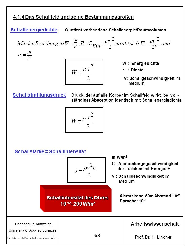 Hochschule Mittweida University of Applied Sciences Fachbereich Wirtschaftswissenschaften Arbeitswissenschaft Prof. Dr. H. Lindner 67 Hörschwelle und