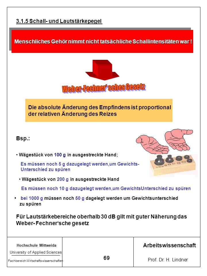 Hochschule Mittweida University of Applied Sciences Fachbereich Wirtschaftswissenschaften Arbeitswissenschaft Prof. Dr. H. Lindner 68 4.1.4 Das Schall