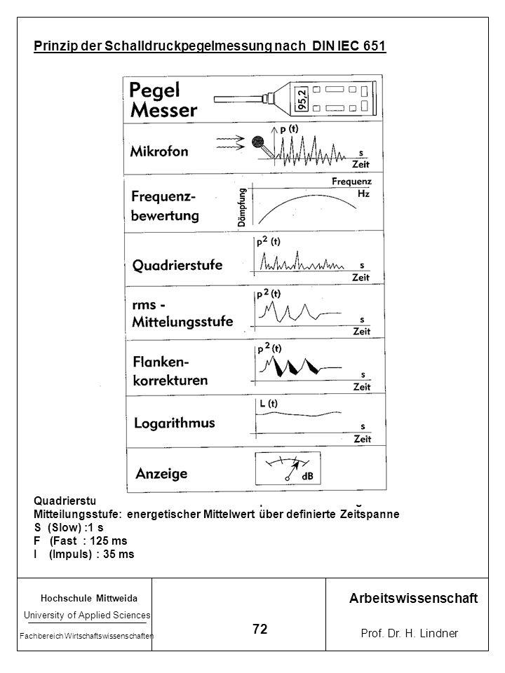 Hochschule Mittweida University of Applied Sciences Fachbereich Wirtschaftswissenschaften Arbeitswissenschaft Prof. Dr. H. Lindner 71 Lärmpegelmesser