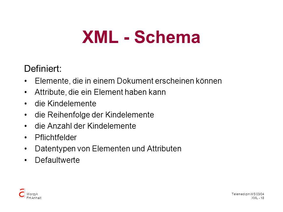 Worzyk FH Anhalt Telemedizin WS 03/04 XML - 18 XML - Schema Definiert: Elemente, die in einem Dokument erscheinen können Attribute, die ein Element ha
