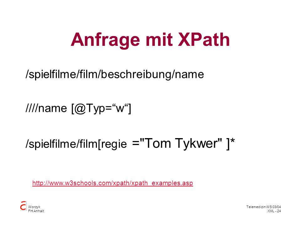 Worzyk FH Anhalt Telemedizin WS 03/04 XML - 24 Anfrage mit XPath /spielfilme/film/beschreibung/name ////name [@Typ=w] /spielfilme/film[regie =
