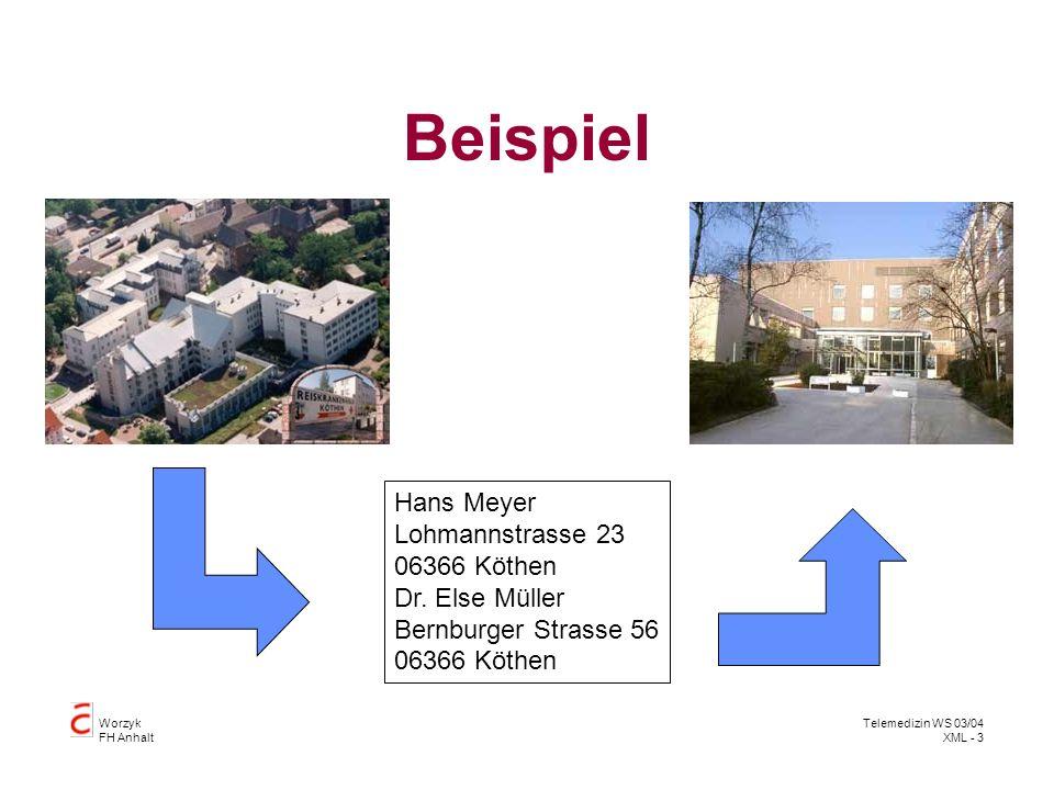 Worzyk FH Anhalt Telemedizin WS 03/04 XML - 3 Beispiel Hans Meyer Lohmannstrasse 23 06366 Köthen Dr. Else Müller Bernburger Strasse 56 06366 Köthen