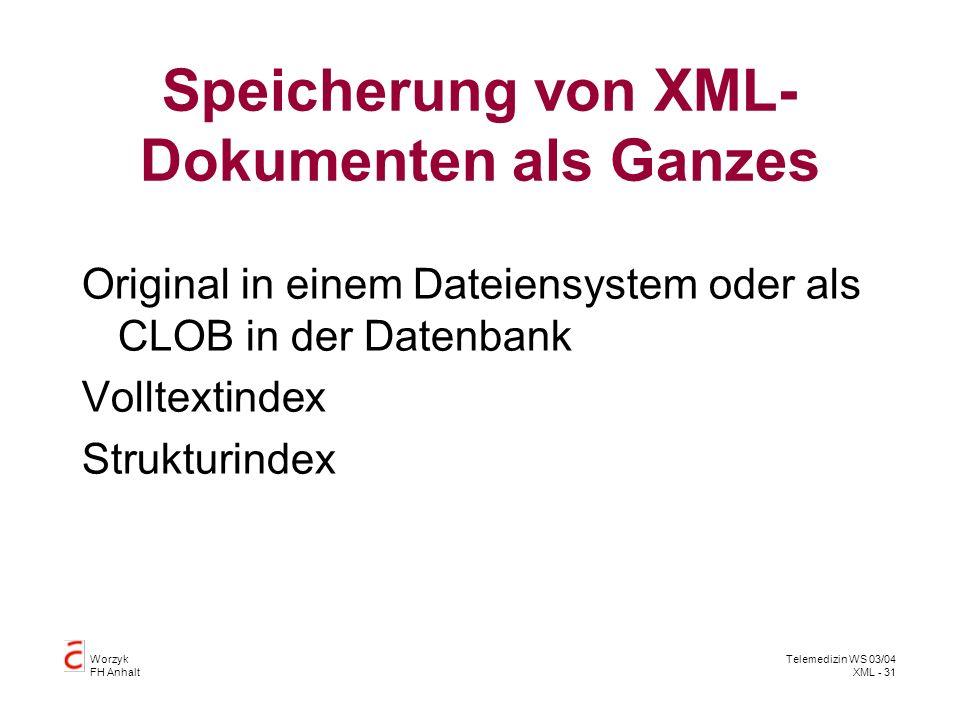 Worzyk FH Anhalt Telemedizin WS 03/04 XML - 31 Speicherung von XML- Dokumenten als Ganzes Original in einem Dateiensystem oder als CLOB in der Datenba
