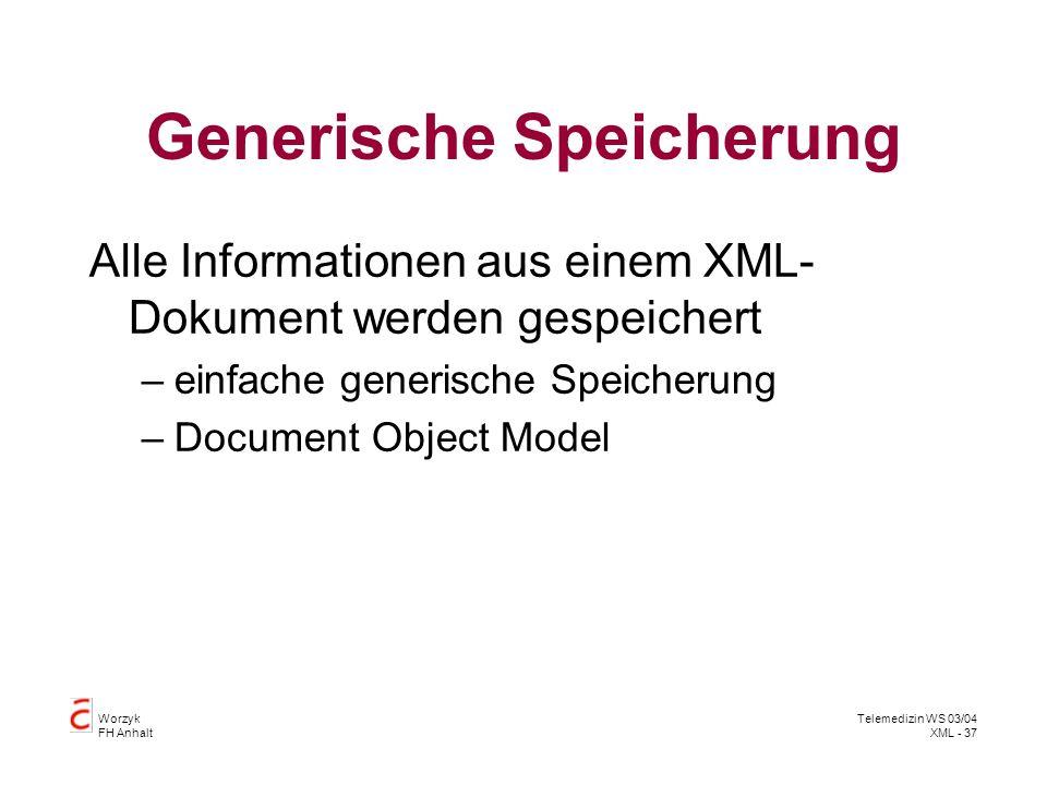 Worzyk FH Anhalt Telemedizin WS 03/04 XML - 37 Generische Speicherung Alle Informationen aus einem XML- Dokument werden gespeichert –einfache generisc
