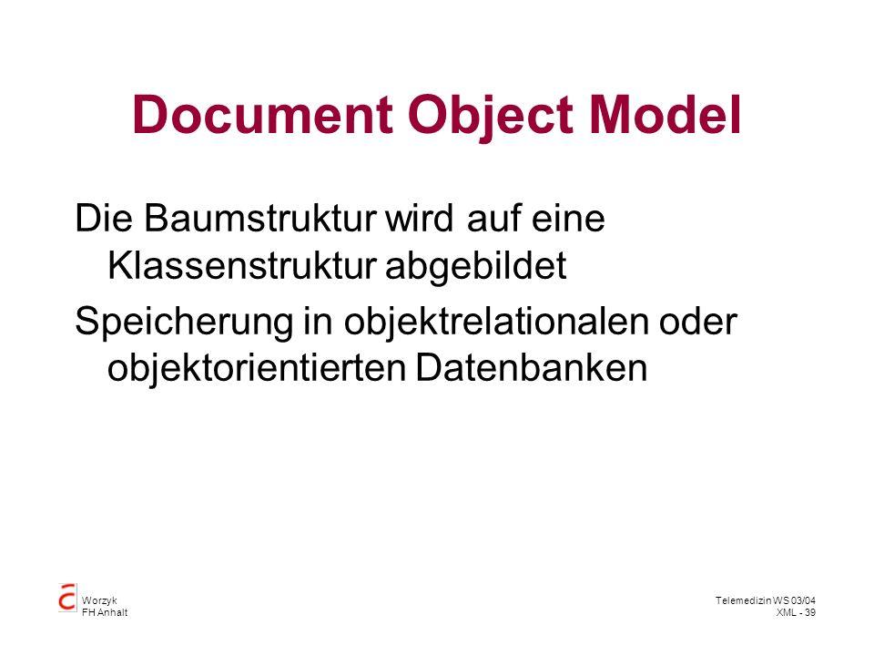 Worzyk FH Anhalt Telemedizin WS 03/04 XML - 39 Document Object Model Die Baumstruktur wird auf eine Klassenstruktur abgebildet Speicherung in objektre