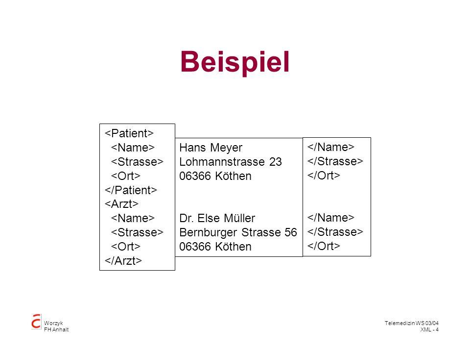 Worzyk FH Anhalt Telemedizin WS 03/04 XML - 4 Beispiel Hans Meyer Lohmannstrasse 23 06366 Köthen Dr. Else Müller Bernburger Strasse 56 06366 Köthen