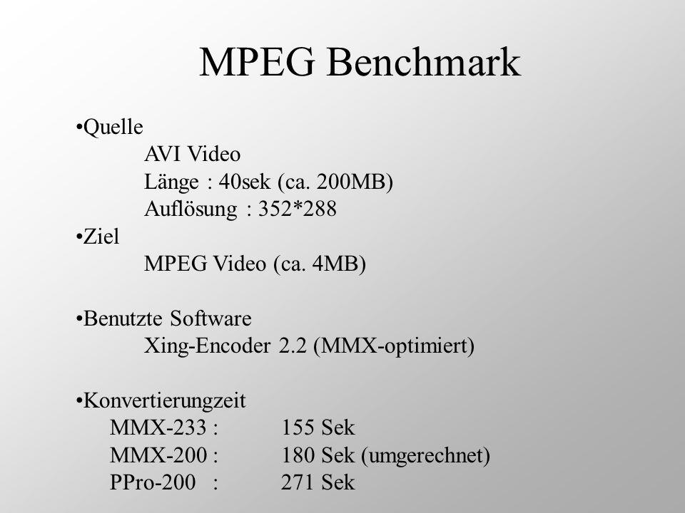 MPEG Benchmark Quelle AVI Video Länge : 40sek (ca. 200MB) Auflösung : 352*288 Ziel MPEG Video (ca. 4MB) Benutzte Software Xing-Encoder 2.2 (MMX-optimi