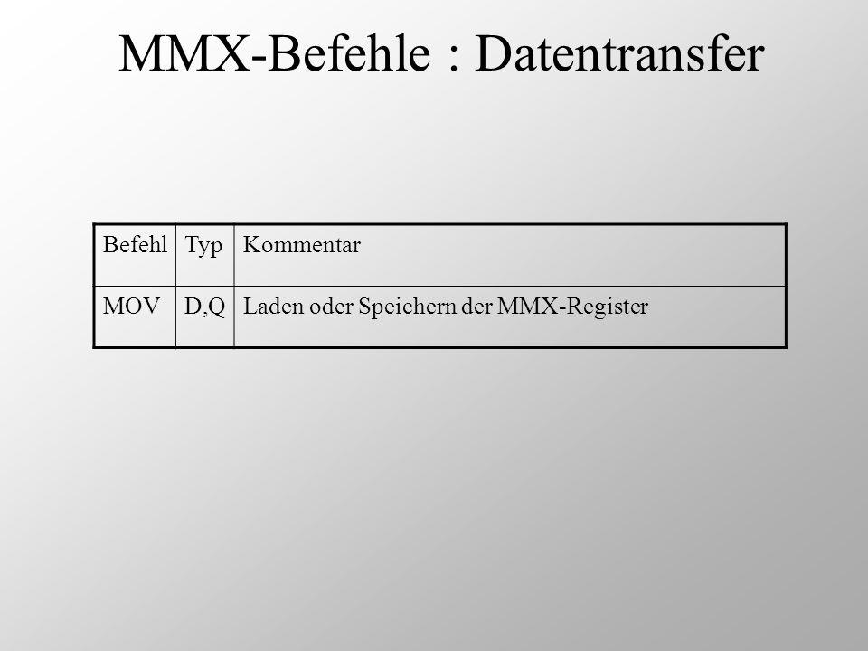 MMX-Befehle : Datentransfer BefehlTypKommentar MOVD,QLaden oder Speichern der MMX-Register