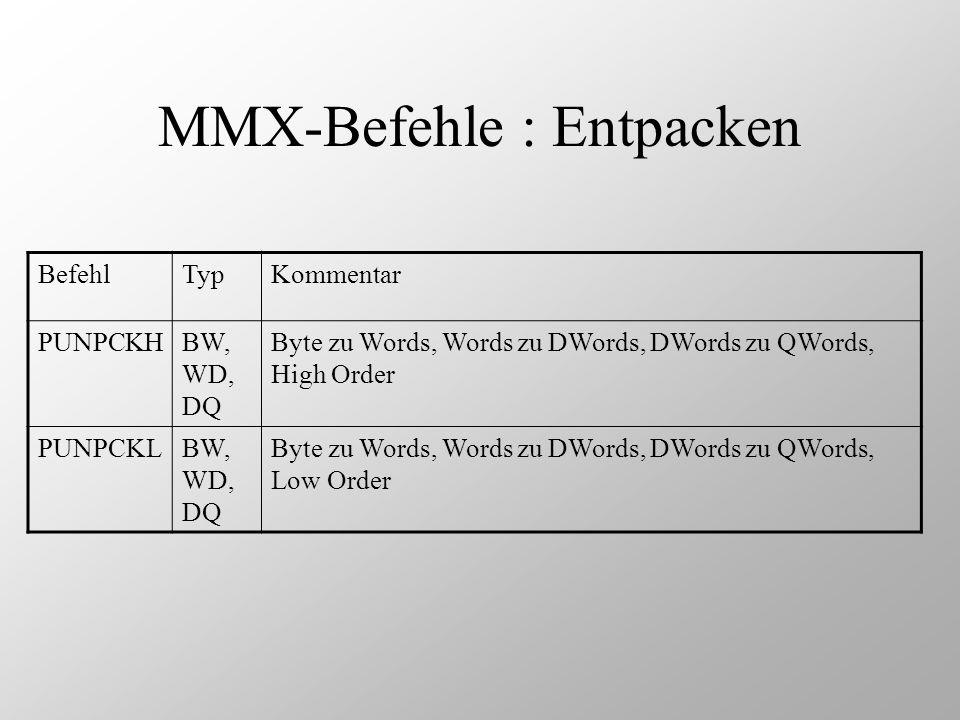 MMX-Befehle : Entpacken BefehlTypKommentar PUNPCKHBW, WD, DQ Byte zu Words, Words zu DWords, DWords zu QWords, High Order PUNPCKLBW, WD, DQ Byte zu Wo
