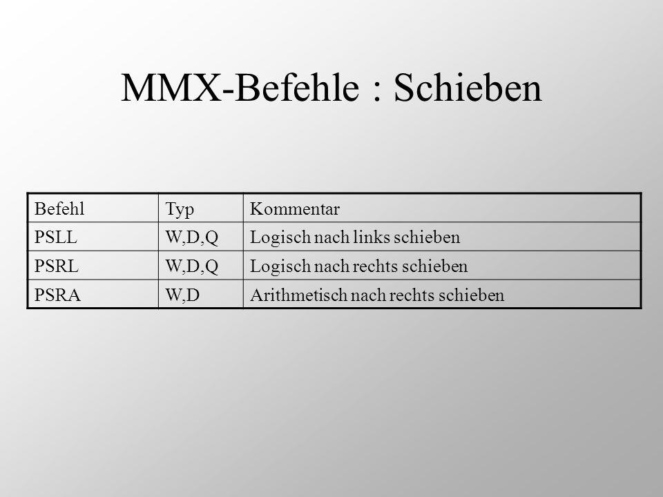 MMX-Befehle : Schieben BefehlTypKommentar PSLLW,D,QLogisch nach links schieben PSRLW,D,QLogisch nach rechts schieben PSRAW,DArithmetisch nach rechts s