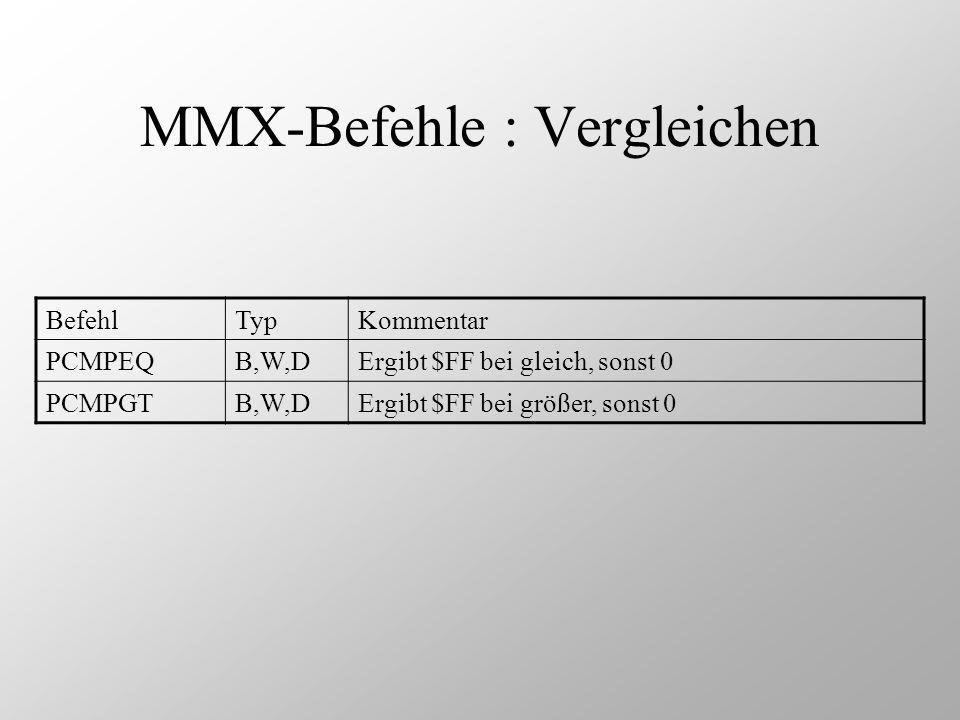 MMX-Befehle : Vergleichen BefehlTypKommentar PCMPEQB,W,DErgibt $FF bei gleich, sonst 0 PCMPGTB,W,DErgibt $FF bei größer, sonst 0