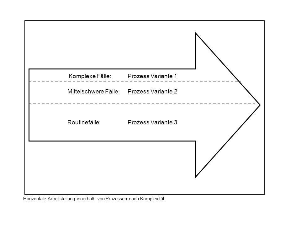 Komplexe Fälle: Prozess Variante 1 Mittelschwere Fälle: Prozess Variante 2 Routinefälle: Prozess Variante 3 Horizontale Arbeitsteilung innerhalb von P