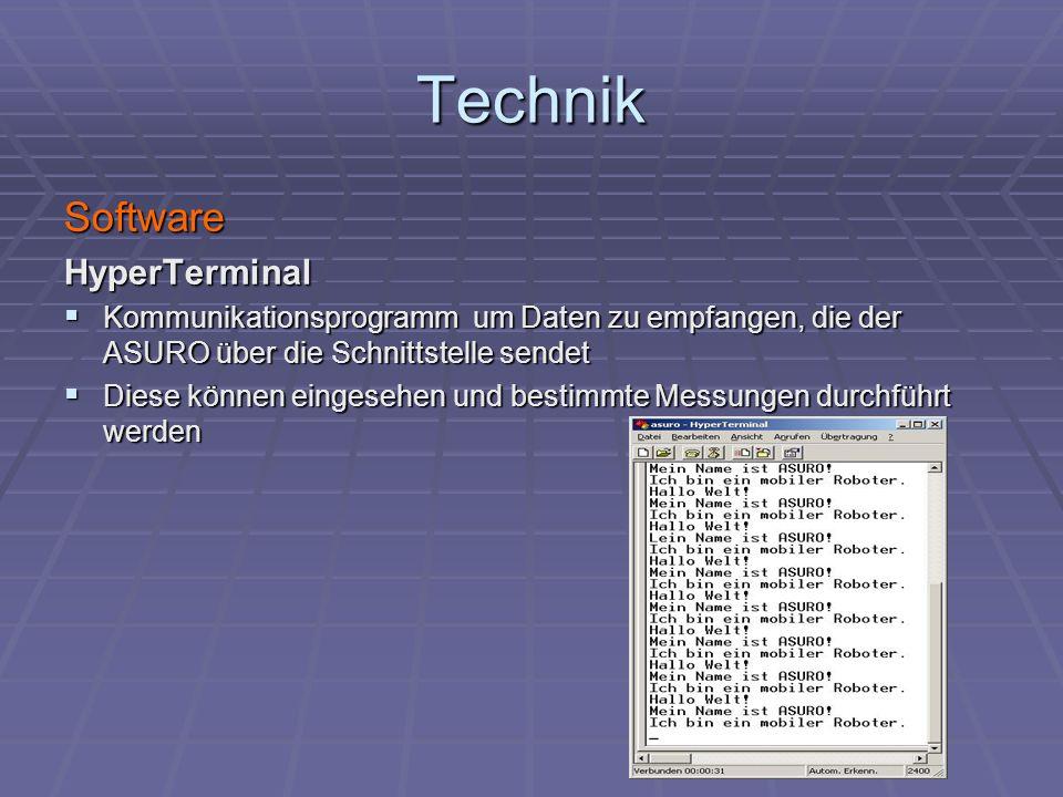 Technik SoftwareHyperTerminal Kommunikationsprogramm um Daten zu empfangen, die der ASURO über die Schnittstelle sendet Kommunikationsprogramm um Date