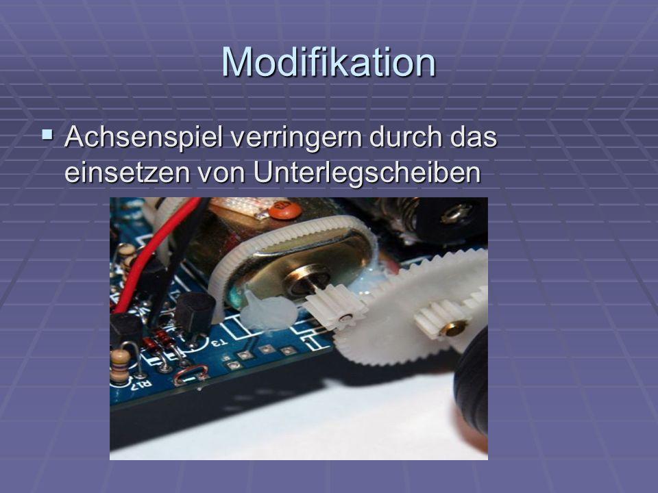 Modifikation Achsenspiel verringern durch das einsetzen von Unterlegscheiben Achsenspiel verringern durch das einsetzen von Unterlegscheiben