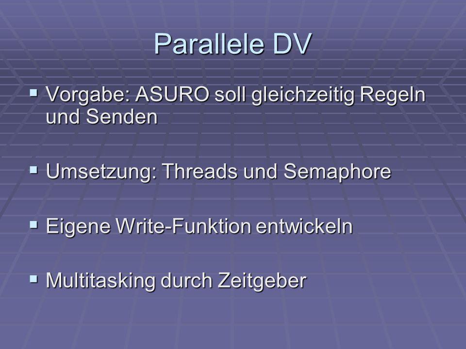 Parallele DV Vorgabe: ASURO soll gleichzeitig Regeln und Senden Vorgabe: ASURO soll gleichzeitig Regeln und Senden Umsetzung: Threads und Semaphore Um