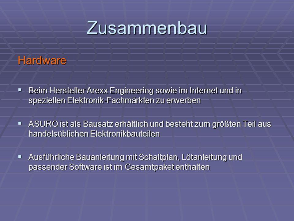 Zusammenbau Hardware Beim Hersteller Arexx Engineering sowie im Internet und in speziellen Elektronik-Fachmärkten zu erwerben Beim Hersteller Arexx En
