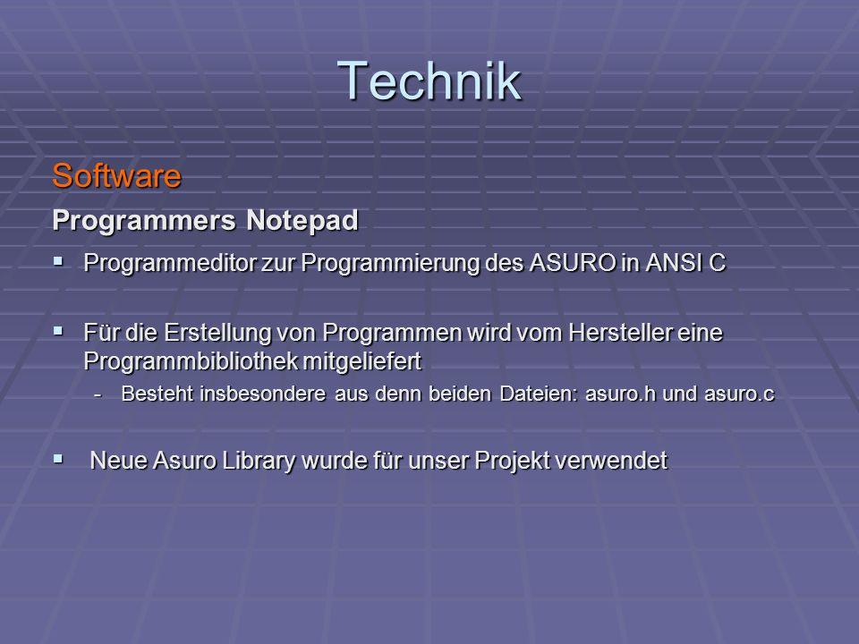 Technik Software Programmers Notepad Programmeditor zur Programmierung des ASURO in ANSI C Programmeditor zur Programmierung des ASURO in ANSI C Für d