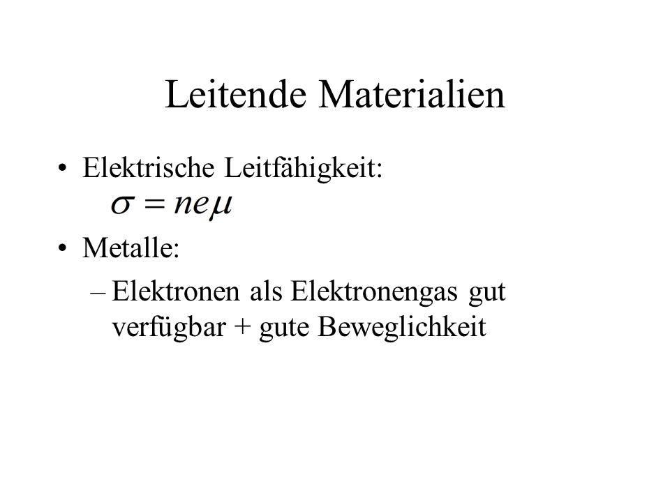 Leitende Materialien Elektrische Leitfähigkeit: Metalle: –Elektronen als Elektronengas gut verfügbar + gute Beweglichkeit