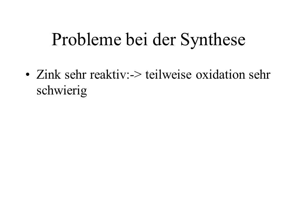 Probleme bei der Synthese Zink sehr reaktiv:-> teilweise oxidation sehr schwierig